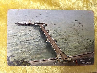 THE PIER, MINEHEAD, Somerset, Paddle Steamer Postcard 1905