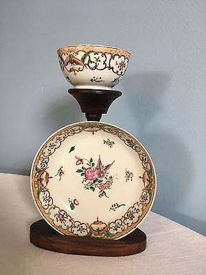 Antique 18th century Chinese Export Porcelain Tea Cup & Saucer Bowl 1780