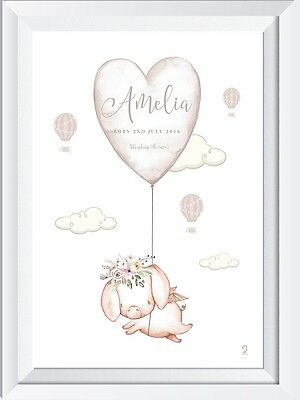 Personalised baby child name LASER SW CRYSTAL PRINT pig christening gift nursery