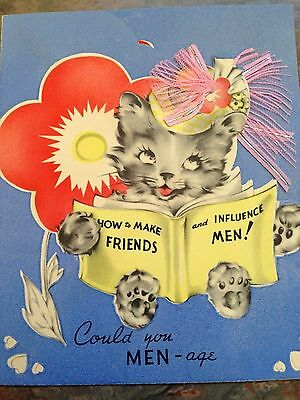 Sassy Gray Kitten Cat Red Pink Ribbon  Hat Fluffy Clouds Die Cut Valentine Card