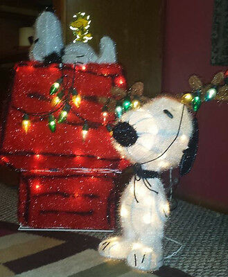 Vintage Set Peanuts 3D Lighted Lawn Stake Decor Tinsel House Woodstock + Snoopy