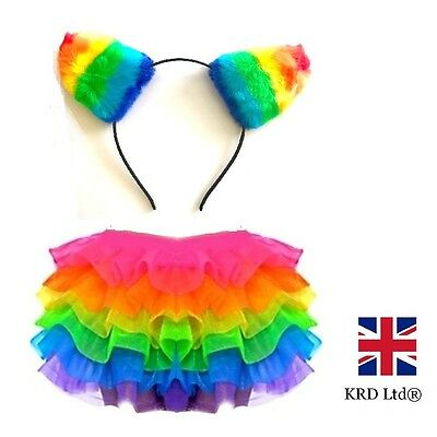 RAINBOW TUTU COSTUME Girls Kids Halloween Dash Unicorn Pony Ears Fancy Dress UK