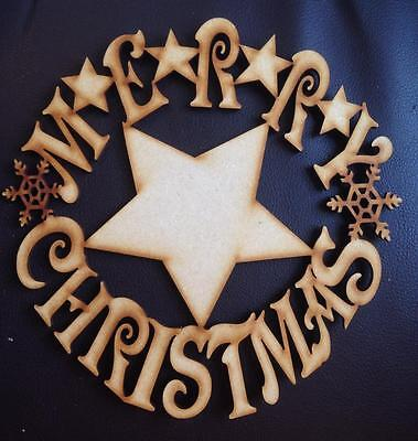 Large Merry Christmas wreath with star Wooden Craft Shape 200mm x 3mm Mdf wood