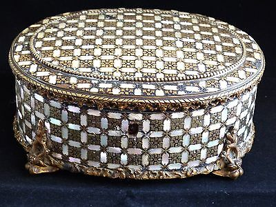 RARE Antique 19th Century Box / Casket Inlaid Brass / Mother of Pearl -  TAHAN?