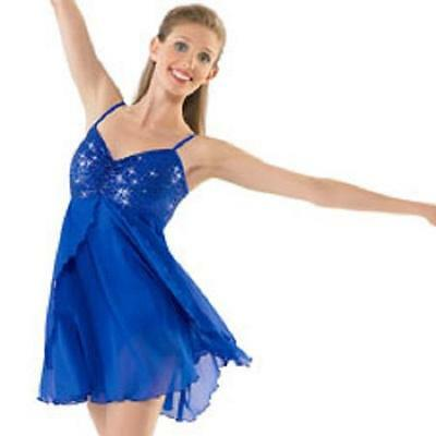 Dance Costume Large Child & XL Adult Blue Sequin Lyrical Ballet Solo Competition