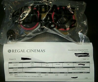 Guardians of the Galaxy Vol. 2 Regal Star-Lord 3D Glasses New Priority shipping