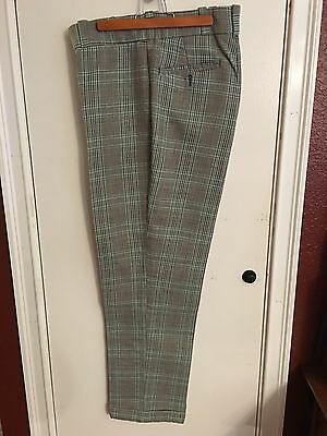 Vtg JCPenney BIG MAC Green Plaid Poly Blend Permanent Press Pants~70s! EUC!