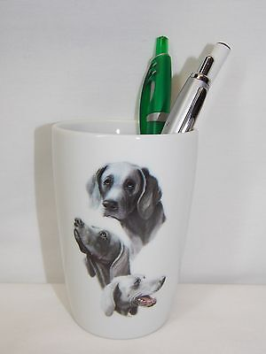 Weimaraner 3 View Dog Pencil Holder Porcelain Fired Decal 4 In tall