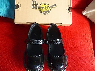 DR MARTENS GIRLS BLACK patent  LEATHER  SHOES UK SIZE 2