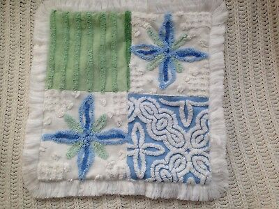 """Vintage Chenille  Pillow 16"""" Large Blue Green & White Large Flowers"""