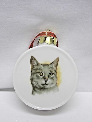 Grey Shorthair Cat Christmas Tree Ornament Porcelain 2 1/2 In Drum  Decal - OH