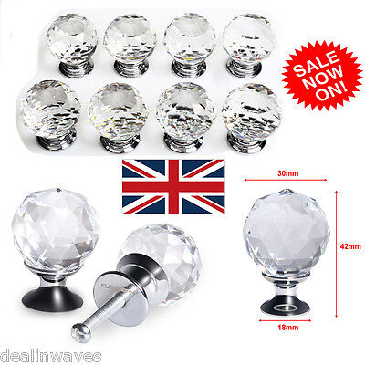 5/8/10/16pc 30mm Clear Crystal Glass Door Knob Drawer Cabinet Furniture Handle