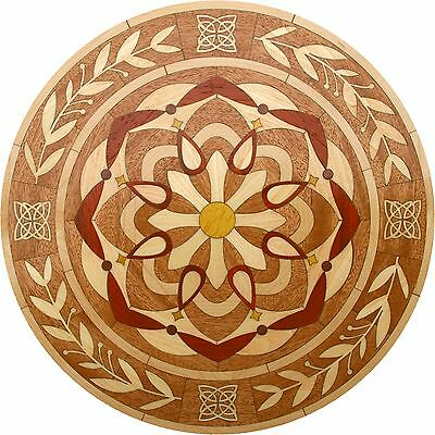 "24"" Assembled Wood Floor Medallion Inlay 213 Piece Kaleidoscope circle Flooring"