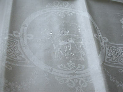 Irish Linen Square Damask Tablecloth.unused. Celtic.wolfhounds,harp,shamrock Etc