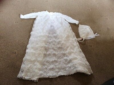 Vintage Mothercare lace Christening gown Robe dress With Bonnet white 2-3 Mths