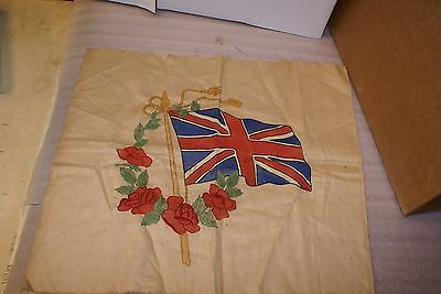 1914 WWI Union Jack Great Britain Flag Stitched Fabric Cloth Panel Painted Dyed