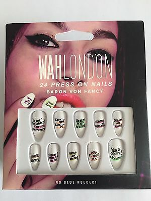 Wah London Baron Von Fancy Press On Nails No Glue Needed Slogan Writing White