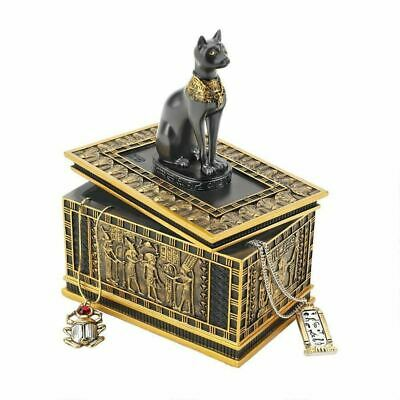 Ancient Egyptian Art Royal Bastet Egyptian Jewelry Box Hand-Painted in Faux Gold