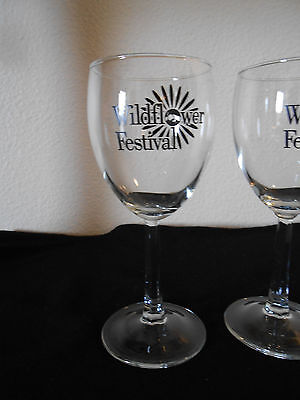 CALIFORNIA WILDFLOWER FESTIVAL 6 OZ Wine Glass Festival CUT STEMMED FREE SHIP!