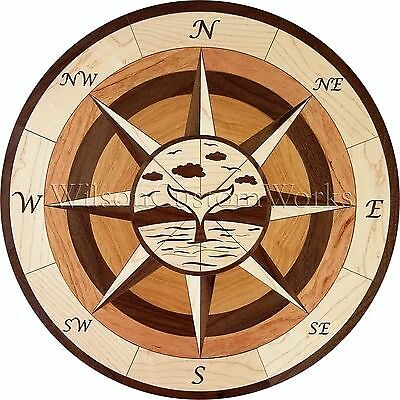 "24"" Assembled Wood Floor Inlay 104 Piece Whale Tail Compass Medallion Flooring"