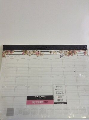 "AT-A-GLANCE Desk Pad Calendar 2017, Monthly, 21-3/4 x 17"", Ruled Blocks, Monique"