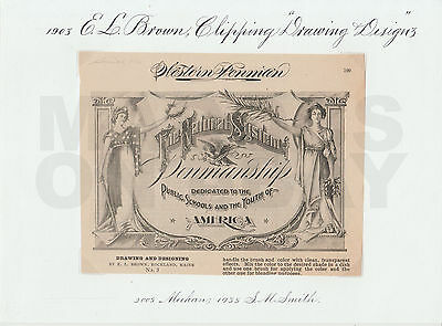 LOT 4 E L Brown National System Penmanship Collector Items, S M Smith Collection