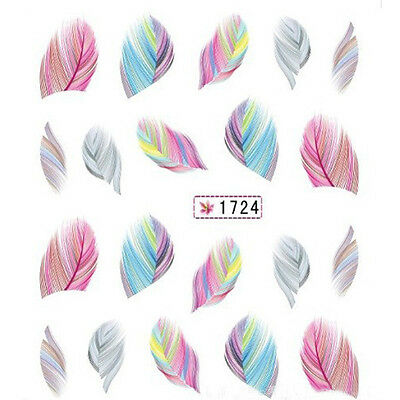 New 1X 1724 Useful Feather Nail Art Water Transfer Stickers Rainbow Dream Decals
