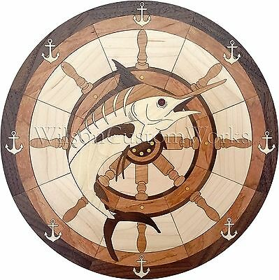 "36"" Assembled Wood Floor Inlay 233 Piece Marlin Fish Medallion Flooring Table"
