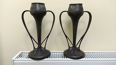 Pewter Floriform Vases by Oliver Baker for Liberty & Co.