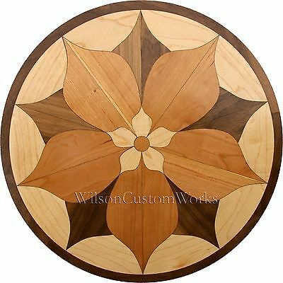 "18"" Assemble Wood Floor Medallion Inlay 44 Piece Spring Flower Flooring Table"