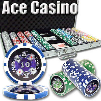 NEW 750 Piece Ace Casino 14 Gram Clay Poker Chips Set with Aluminum Case Custom