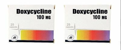 Doxycycline 100 mg  40 capsules (2 boxes x 20 capsules)