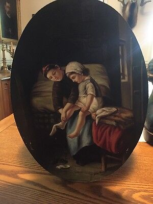 Signed Oval Oil Painting On Wood