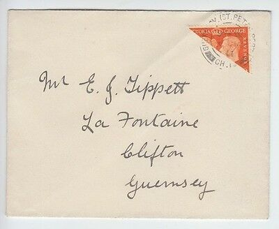 Guernsey 1941 Ww2 Bisect St Peter's Port Po Cds On Cover