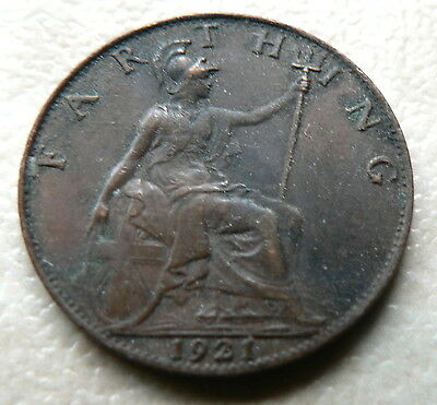 1921 - FARTHING COIN 1/4d - GEORGE V