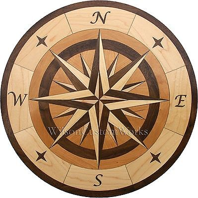 "24"" Wood Floor Inlay 96 Piece Star Compass Medallion kit DIY Flooring Table Box"