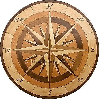 "18"" Assembled Wood Floor Medallion Inlay 100 Piece Compass Flooring Table Box"