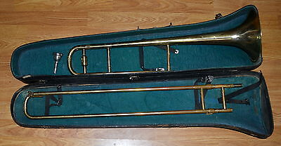 Antique Rare Barclay Brass Trombone Made In Germany W/original Case Collectible