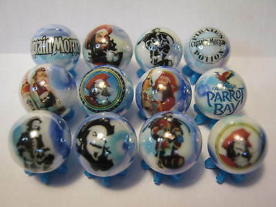 CAPTAIN MORGAN RUM collection glass marbles 5/8 size with stands