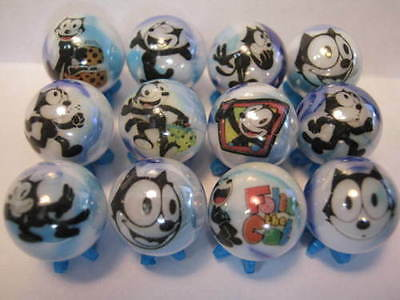 FELIX THE CAT GLASS MARBLES 5/8 SIZE + stands