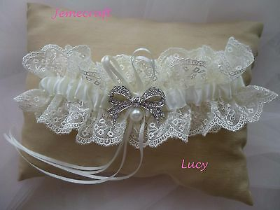 Wedding Garter 'lucy' Ivory  Lace Vintage Crystal Pearl Luxury Bridal Gift