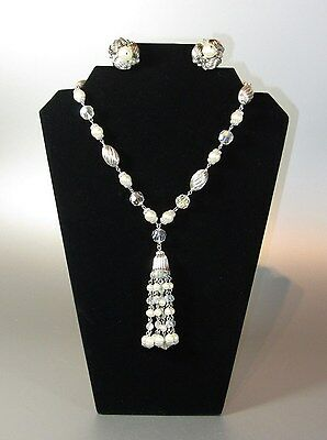 Vintage SHERMAN Signed mixit Pearl Rhinestone Tassel Set Necklace Earrings 60's