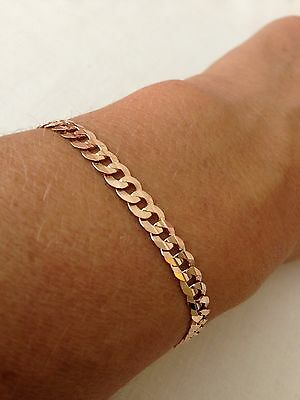 Beautiful 9ct Rose Gold Curb Bracelet , 7.5 inches , H Samuel New 9 Carat Gold