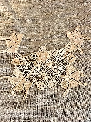 Antique Victorian French Dolls Handmade Dimensional IRISH Lace Collar
