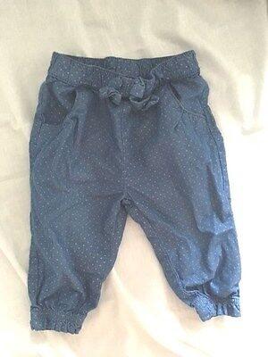 Matalan Blue Trousers With White Spots 3-6 Months 100% Cotton