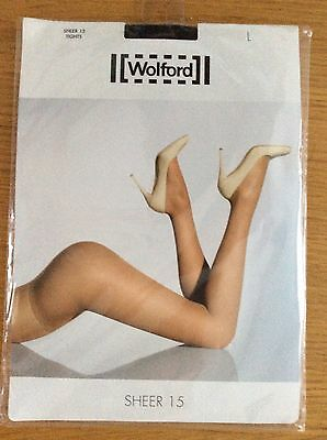 Wolford Sheer 15 Sheer-to-Waist Tights Pantyhose - Large - Nearly Black