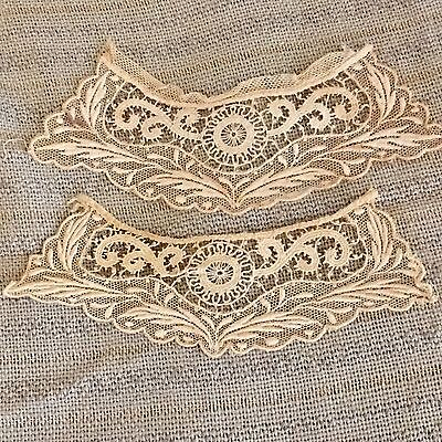 Fine Antique Victorian Handmade Net Embroidered Lace Pair Collar/Cuffs/Dolls