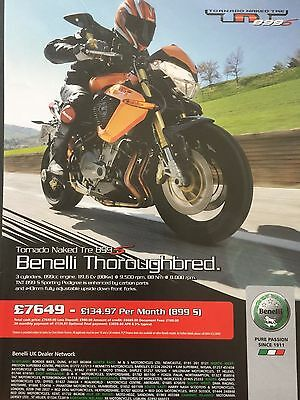 Benelli Tornado Naked Tre 899S - Original A4 Motorcycle Advert Type 2