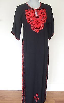 Black and Red embroidered VTG hippie boho maxi dress