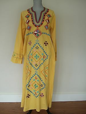 VTG Yellow Cotton Embroidered Caftan